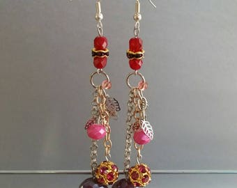 Charm Earrings in Raspberry and Gold