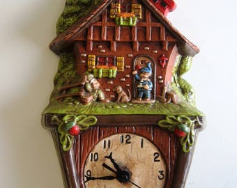 Ceramic Wall Clock Vintage 1970's Storybook Style with Elf Theme