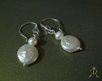 Sterling Silver Freshwater Coin Pearl Drop Earrings with swarovski accent/ or Herkimer diamond