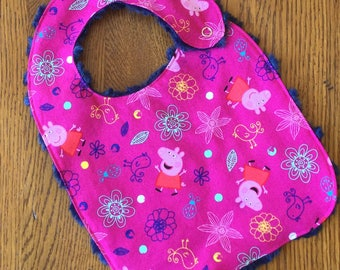 NEW...Peppa Pig Minky Baby/Toddler Bib