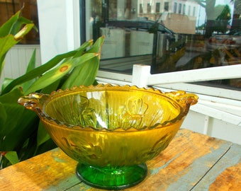 Jeannette Iris Herringbone Candy Dish Flashed Green and Yellow / Vintage Home Decor Serving Dish