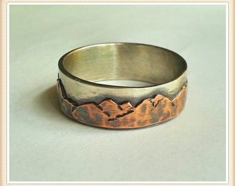 Mountain range sterling and copper wedding ring - Custom - men's - ladies- unisex - single band - 7-9 mm - nature lover - rustic - organic