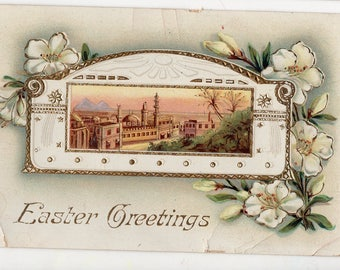 Easter Vintage Postcard, landscape with pretty flowers, Jerusalmen, gel card
