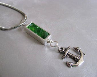 Sea Glass Jewelry - Kelly Green Sea Glass - Silver Rectangle Necklace - Sea Glass Necklace - Anchor Charm - Ocean Jewelry Gifts of the Sea