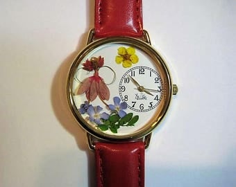IMAGINE...A Flower Fairy Dancing in Her Garden in your Watch! Fairy in a Watch, Garden Fairy Watch, Red Fairy, Forget Me Nots, Bridal Wreath