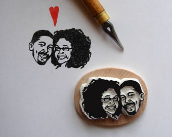 Personalized gift Save the date / Custom rustic wedding portraits invitations / wedding hand carved rubber stamps / marriage gift paper