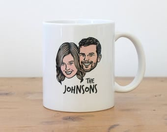 Custom portrait Personalized gift for couple coffee lovers Inspirational customized mug Unique wedding / bachelorette gift idea coffee