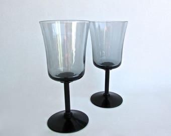 Fostoria Princess Gray Wine Glasses 1972-1980, Black Columnar Stem and Flower Rondelle