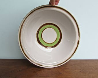 "Rondo Green Stoneware 10"" Serving Bowl, Vintage Japan Stoneware Form, Mid Century Modern Japan"