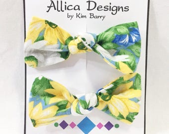 Hair Bow Clip Set - Daisies - Free Shipping in the US