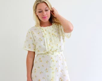 1960s Floral Summer Day Dress /// Size Extra Large /// Plus Size