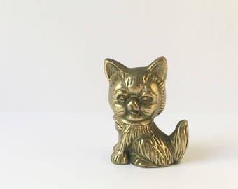 Brass Cat Figurine Cat statue chachkies Cute Cat Kitten Figurine