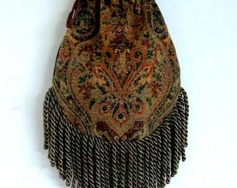 Fringe Tapestry Gypsy Bag Olive Green Cross Body Bag Bohemian  Hippie Bag Festival Bag Renaissance bag Shoulder Bag Hand Bag
