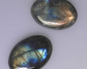 Two oval Labradorite cabochons, very good multi color flash, 84.33 carats total              043-10-233