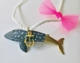 Whale Necklace. Preppy Whale Necklace. Girls Whale Necklace. Kids Nautical jewelry. Anchor necklace. Gold Whale necklace. Blue Whale