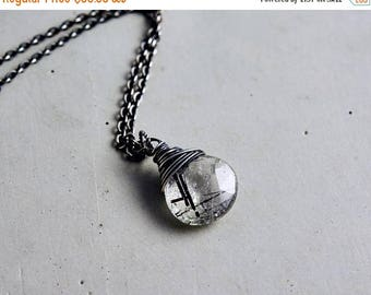 Summer Sale Tourmalinated Necklace, Tourmalinated Quartz, Crystal Pendant, Sterling Silver