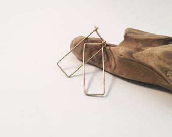 Gold Filled Hammered Rectangle Hoop Earrings - H10GF-S -handmade wire jewelry by cristysjewelry