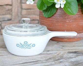 Corning Ware Cornflower Pot w/Lid 1 1/2 Pint