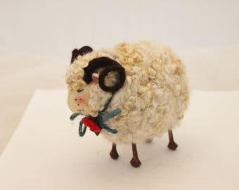 Sheep Little White Sheep Prim Needle Felted Sheep, Ram # 2644