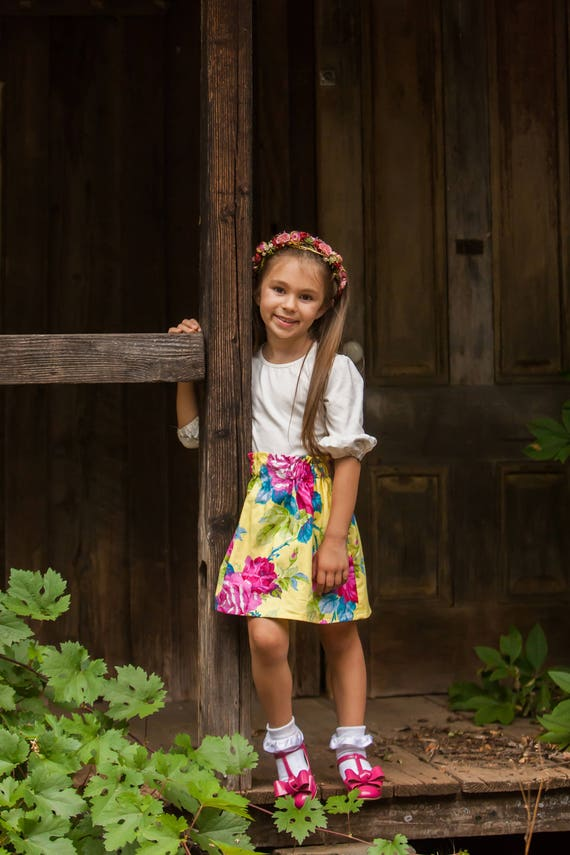 Girls Floral Skirt - Yellow and Pink Skirt - Yellow Floral Skirt - Back to School Skirt