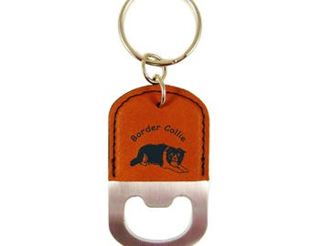 Border Collie Laying Bottle Opener Keychain K1870 - Free Shipping