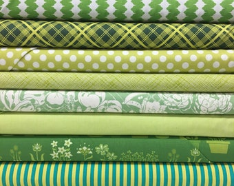 Quilt Sandwich's Color Pack - 10 Fat Quarters - Green