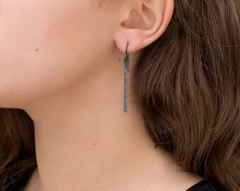 Oxidized silver long dangle bar earrings/ Minimal line earrings/ Modern simple black earrings/ Handcrafted modern/ Every day casual silver