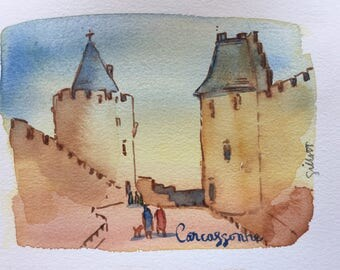 Towers of Carcassonne; original watercolor #7