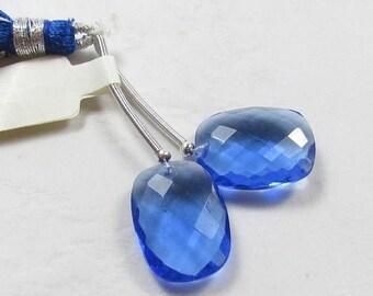 20% Off OUT Of TOWN SALE Rose Cut Sapphire Blue Quartz Briolette Beads, 13mm x 18mm Matched Pair
