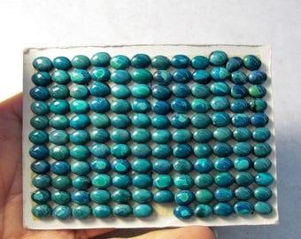 20% OFF SALE RARE Bisbee Arizona Turquoise  Cabochon, Qty5, 5mm x 7mm Oval Turquoise Cabochon, Natural Turquoise