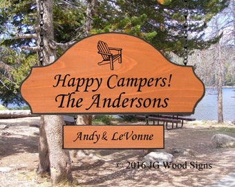 Family Name - Personalized Custom Camping Sign - w sign holder option - JGWoodSigns - Custom Carved Wood - Etsy Anderson