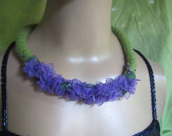Purple Hydrangea Felt Necklace