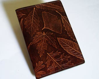 """Leather Journal Cover - Moleskine Notebook Cover - Fits 5"""" x 8.25"""" Cahiers - With Leaf Pattern"""