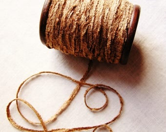Malted Milk rayon Chenille Ribbon on a Hand painted espresso wooden spool