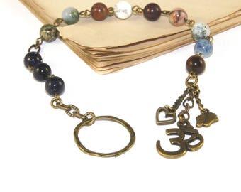 12 Step Recovery Meditation Beads - Om - Mixed Gemstone Beads