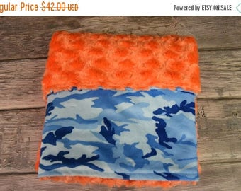 50% OFF Blue Camo with orange swirl double minky blanket
