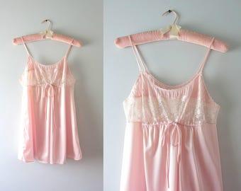 Vintage Pink Babydoll Top | 1970s Nude Pink Babydoll Nightie XS