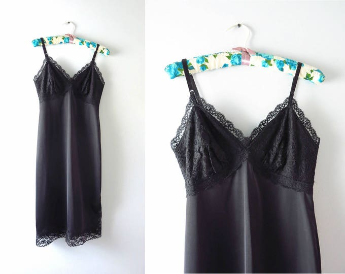 Vintage Black Slip Dress | 1960s Rogers Black Nylon & Lace Full Slip S
