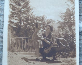 Vintage 1930/30s French sepia  photography  mum & child with cradle for a doll