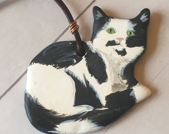 Black and White Spotted Cat Ornament - Cat Ornament - Cat Lover Ornament - Cat Lover Gift - Gift for Her - Pet Loss Gift