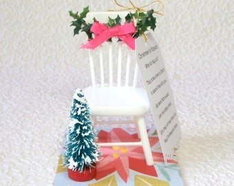 Christmas in Heaven ornament – miniature Christmas scene with poem, for tree or table top, memorial keepsake, empty chair poem