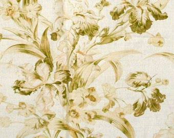 "Floral Toile Decorator Fabric ""Wild Irises"" by Mulberry of England in Acid/Chartreuse Green in Linen-Cotton - 2 Yards x 54"" Wide"