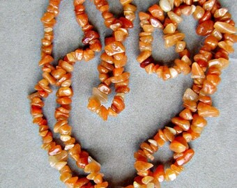 Beads, RED AVENTURINE,  25 Strands,Chips, Bulk, Necklace, Nugget, Carnelian, 34 inch, Smooth, I