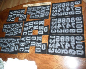 "LARGE Mix of 135 IRON-ON Letters and Numbers in a Black Flocked Velvet - all 1 3/4"" Tall"