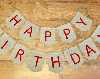 Happy Birthday Burlap Banner-Birthday Garland-bunting-Burlap Garland-Birthday party decor- 1st,16th, 25th, 50th Birthday