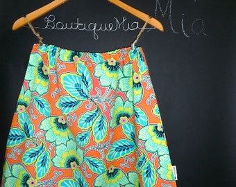 Sample SALE - Will fit Size S/M - Ready to MAIL - A-line SKIRT - Amy Butler - Orange Flowers - by Boutique Mia