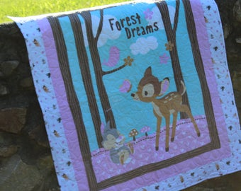 """Baby Quilt-Bambi Quilt-Quilt for Child-Crib Quilt-Bambi and Thumper Quilt  Size 40"""" x 46"""""""