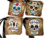 """8 Sugar Skull Gift Tags, Day of the Dead Party Favor Tags,  2 1/4"""" Colorful Hang Tags,  Takuniquedesigns"""