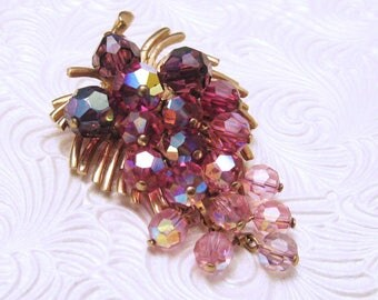 Vintage Brooch Pink Crystal Jewelry Waterfall Style P4658