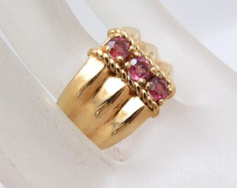 Wide Sterling Ruby Ring Band Vermeil Vintage Jewelry R6575